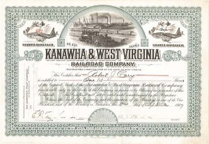 Kanawha & West Virginia Railroad - Stock Certificate