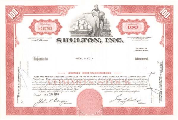 Shulton, Inc - Stock Certificate