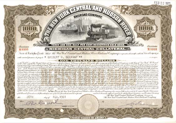 New York Central and Hudson River Railroad - Bond