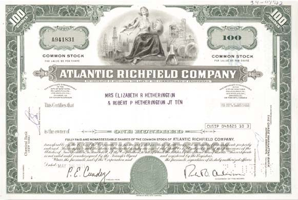 Atlantic Richfield Company - Stock Certificate