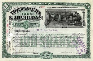 Kanawha & Michigan Railway Company - Stock Certificate