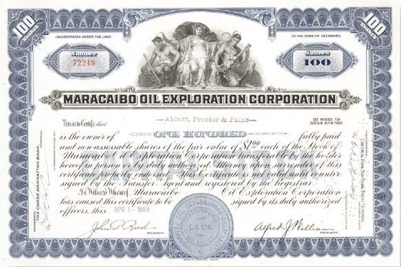Maracaibo Oil Exploration Corp - Stock Certificate