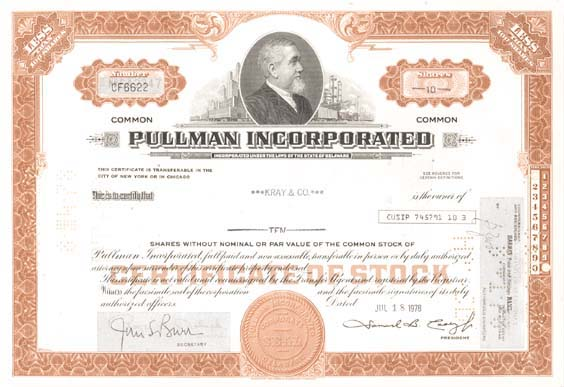 Pullman Incorporated - Stock Certificate