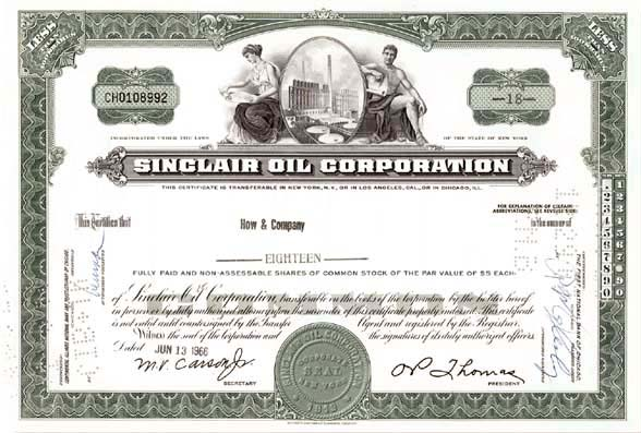 Sinclair Oil Corp - Stock Certificate