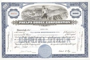 Phelps Dodge Corp - Stock Certificate