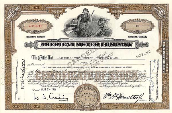 American Meter Company - Stock Certificate
