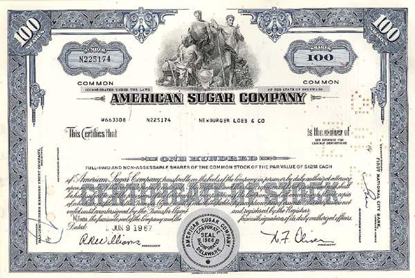 American Sugar Company - Stock Certificate