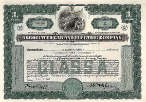 Associated Gas and Electric Company - Stock Certificate