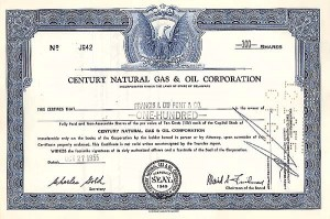 Century Natural Gas & Oil Corporation - Stock Certificate