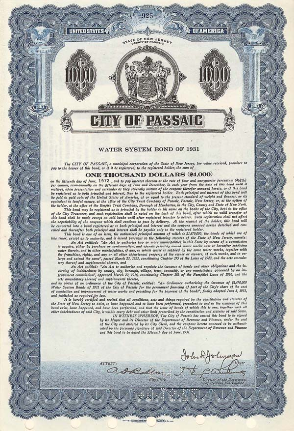 City of Passaic, NJ - Bond