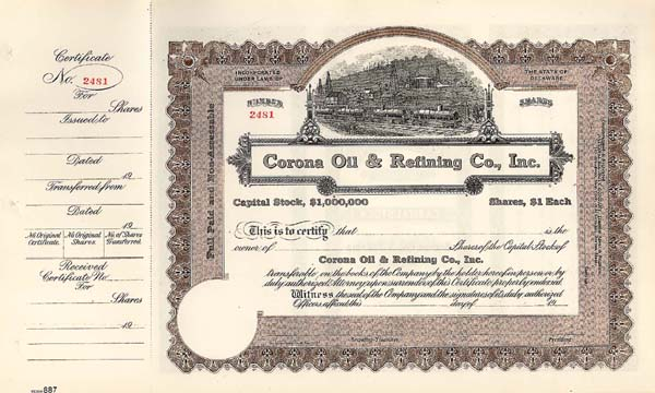 Corona Oil and Refining Co, Inc - Stock Certificate