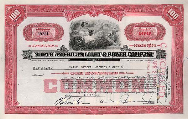 North American Light & Power Co - Stock Certificate