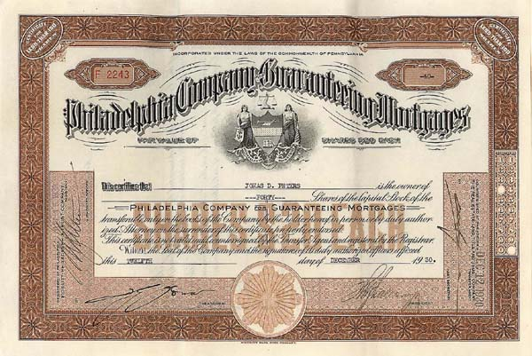 Philadelphia Company For Guaranteeing Mortgages - Stock Certificate