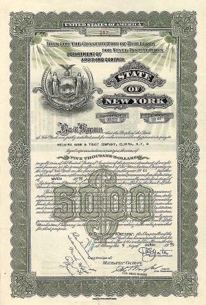 State of New York - Loan For The Construction of Buildings For State Institutions Bond