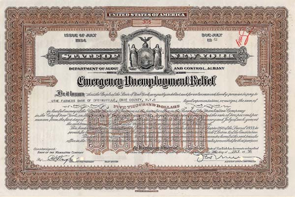 State of New York - Emergency Unemployment Relief Bond
