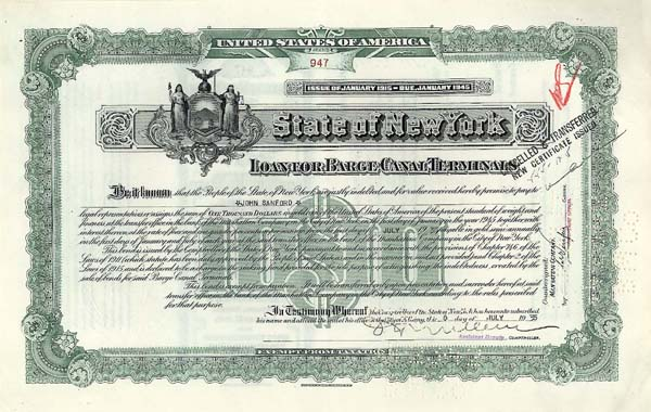 State of NY-Loan For Barge Canal Terminals - Bond