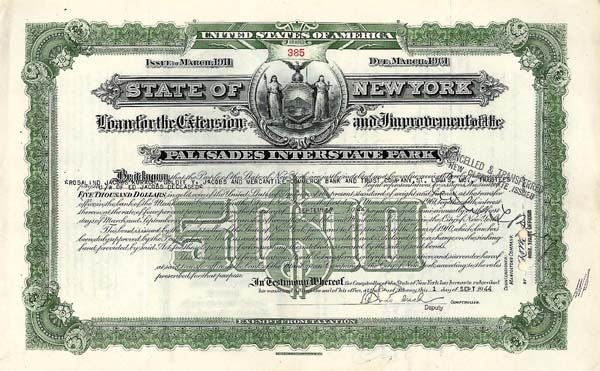 State of NY-Loan For The Extension & Improvement of Palisades Interstate Park - Bond