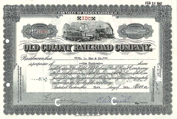 Old Colony Railroad Company - Stock Certificate