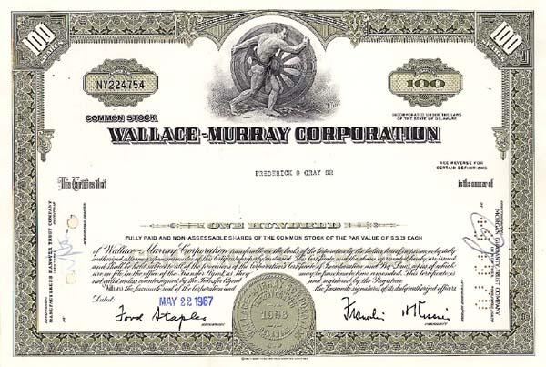 Wallace-Murray Corp - Stock Certificate