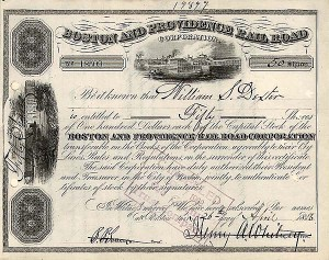 Boston and Providence Railroad Company - Stock Certificate