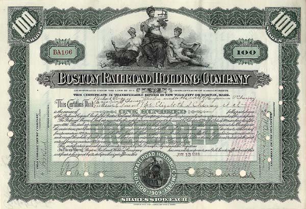 Boston Railroad Holding Company - Stock Certificate