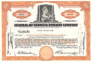 Central of Georgia Railway Company - Stock Certificate
