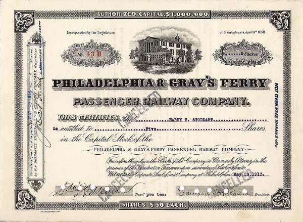 Philadelphia and Gray's Ferry Passenger Railway Company - Stock Certificate