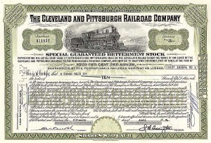 Cleveland & Pittsburgh Railroad Company - Stock Certificate