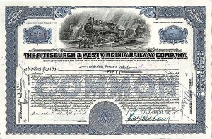 Pittsburgh & West Virginia Railway Company - Stock Certificate