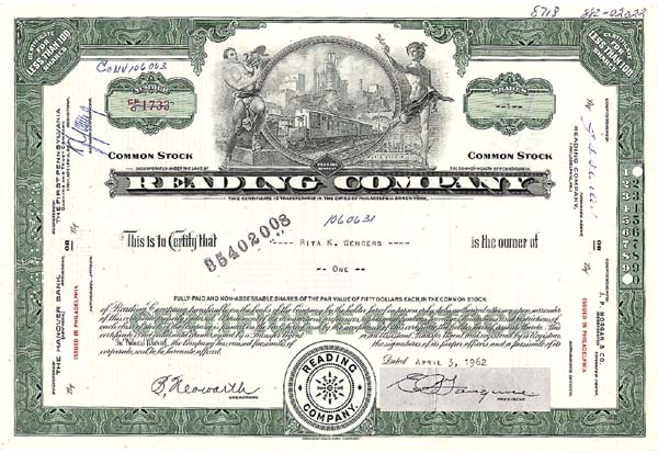 Reading Company - Stock Certificate