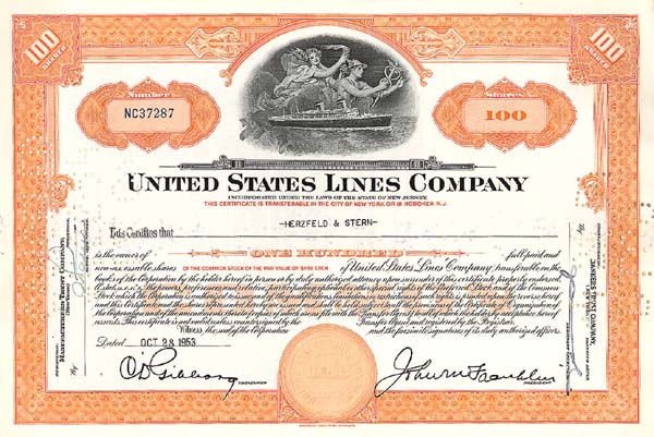 United States Lines Co - Stock Certificate