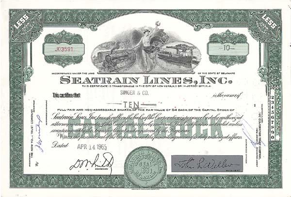 Seatrain Lines, Incorporated - Stock Certificate