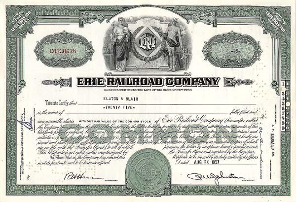 Erie Railroad Company - Stock Certificate