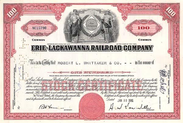 Erie-Lackawanna Railroad Company - Stock Certificate