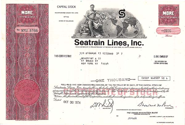 Seatrain Lines, Incorporated - Stock Certificate