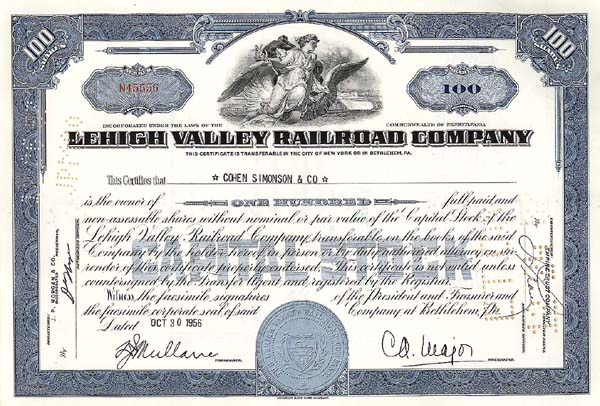 Lehigh Valley Railroad Company - Stock Certificate