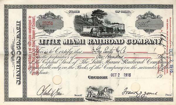 Little Miami Railroad Company - Stock Certificate