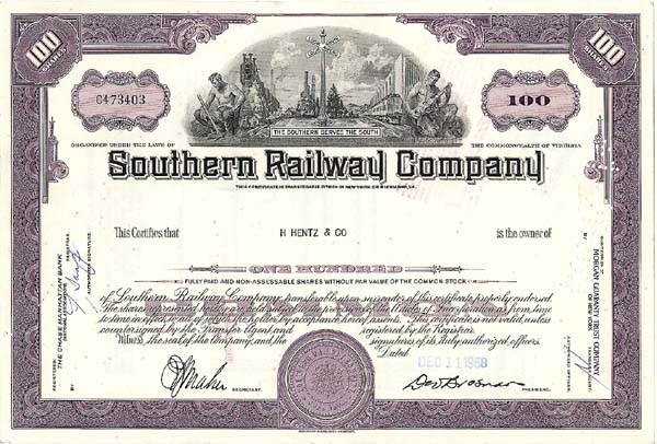 Southern Railway Company - Stock Certificate