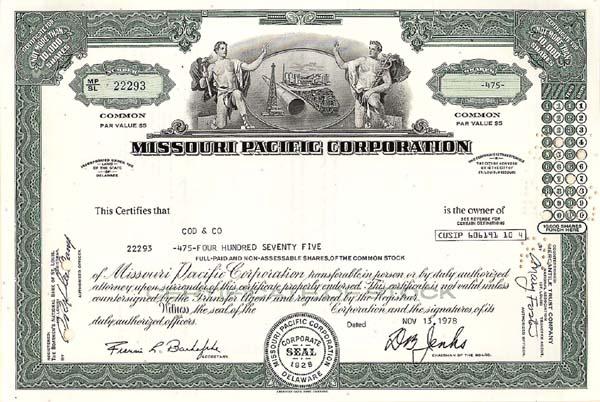 Missouri Pacific Railroad - Stock Certificate