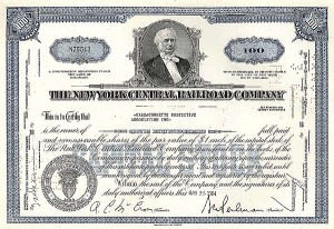 New York Central Railroad Company - Stock Certificate