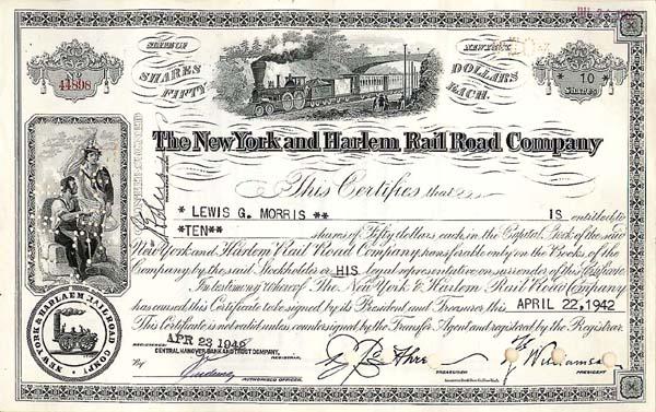 New York & Harlem Rail Road Company - Stock Certificate