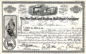 New York & Harlem Rail Road Company - Stock Certificate