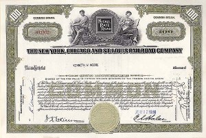 New York, Chicago & St Louis Railroad Company - Stock Certificate