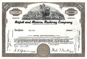 Norfolk and Western Railway Company - Stock Certificate