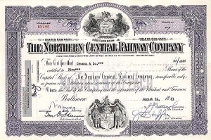 Northern Central Railway Company - Stock Certificate