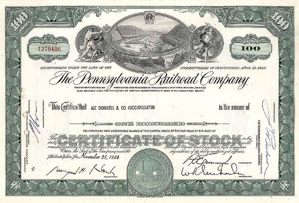 Pennsylvania Railroad Company - Stock Certificate