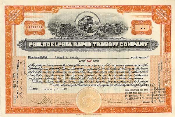Philadelphia Rapid Transit Company - Stock Certificate - SOLD