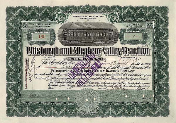 Pittsburgh and Allegheny Valley Traction - Stock Certificate