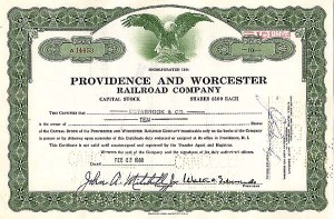 Providence & Worcester Railroad - Stock Certificate