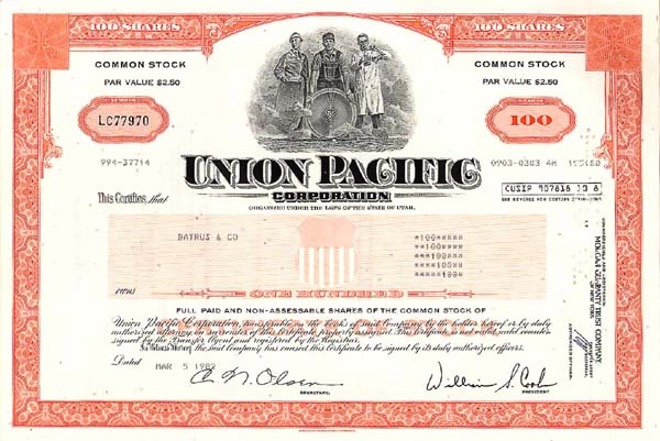 Union Pacific Corporation  - Stock Certificate